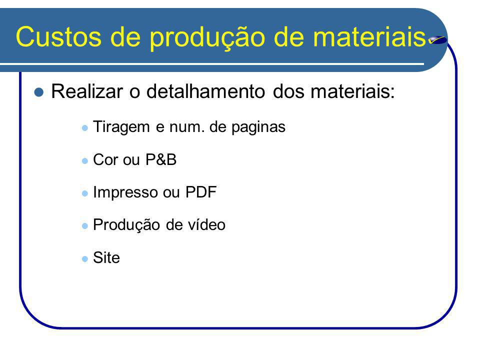 Custos de produção de materiais