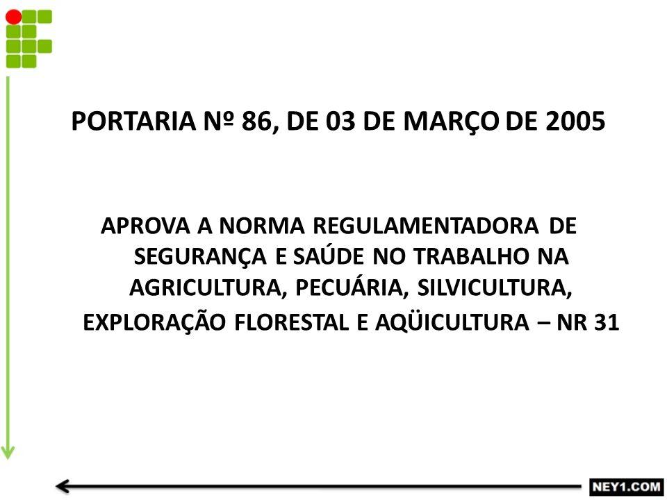 PORTARIA Nº 86, DE 03 DE MARÇO DE 2005