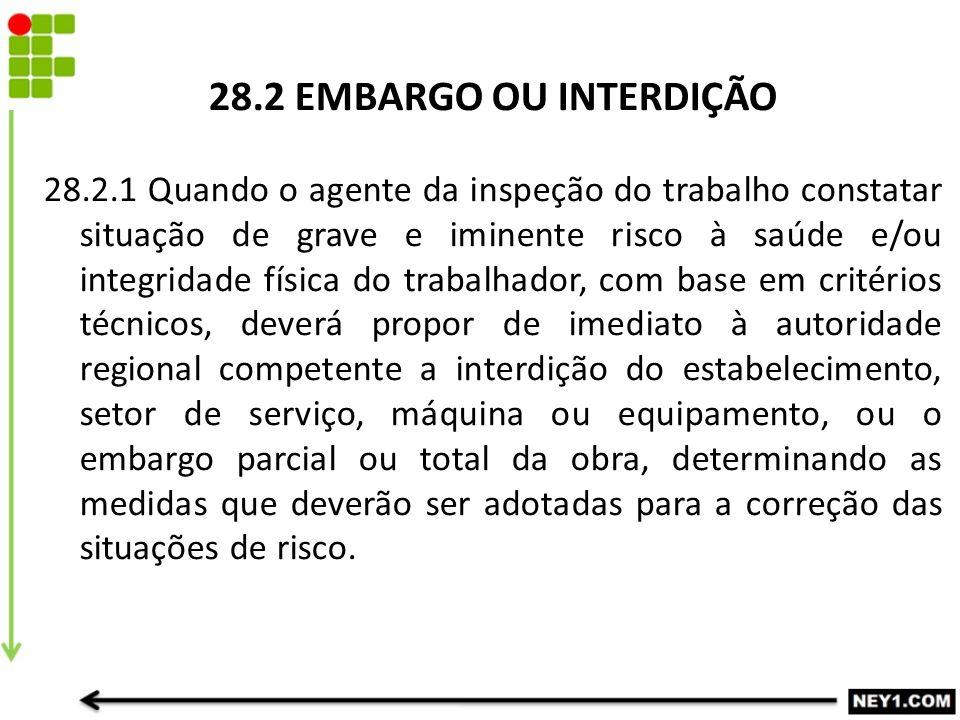 28.2 EMBARGO OU INTERDIÇÃO