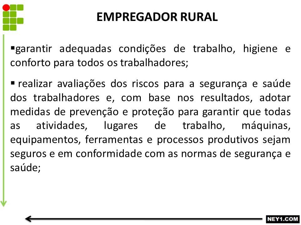 EMPREGADOR RURAL garantir adequadas condições de trabalho, higiene e conforto para todos os trabalhadores;