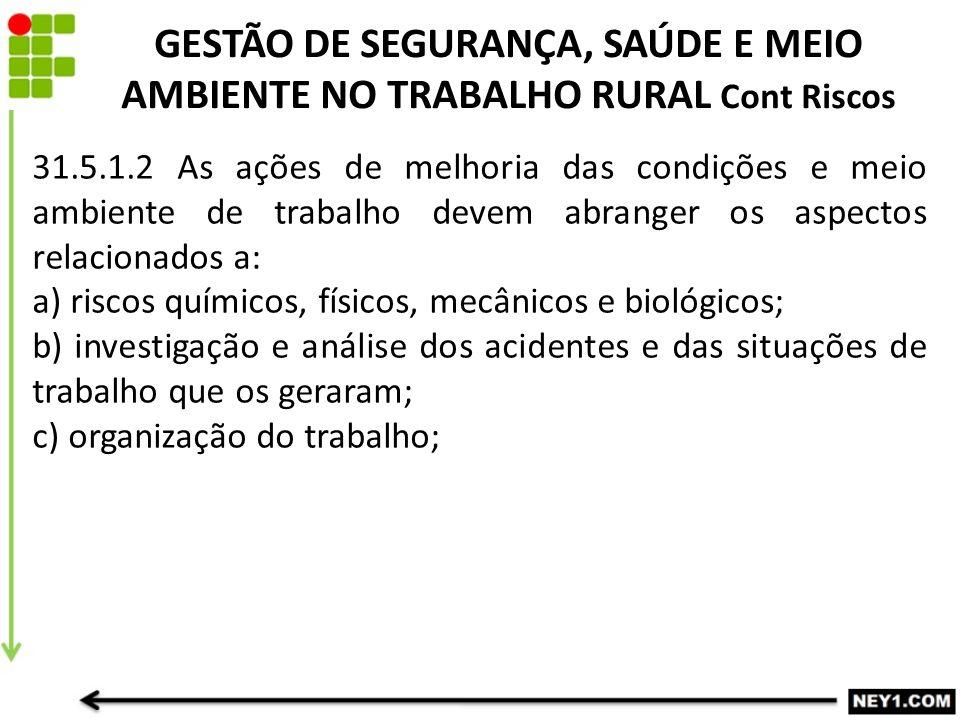 GESTÃO DE SEGURANÇA, SAÚDE E MEIO AMBIENTE NO TRABALHO RURAL Cont Riscos