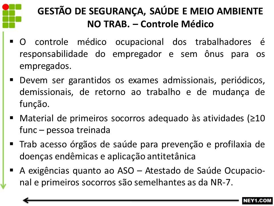 GESTÃO DE SEGURANÇA, SAÚDE E MEIO AMBIENTE NO TRAB. – Controle Médico