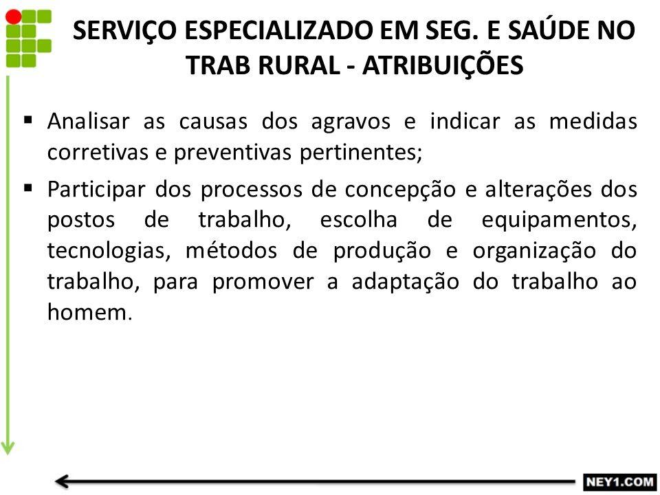 SERVIÇO ESPECIALIZADO EM SEG. E SAÚDE NO TRAB RURAL - ATRIBUIÇÕES