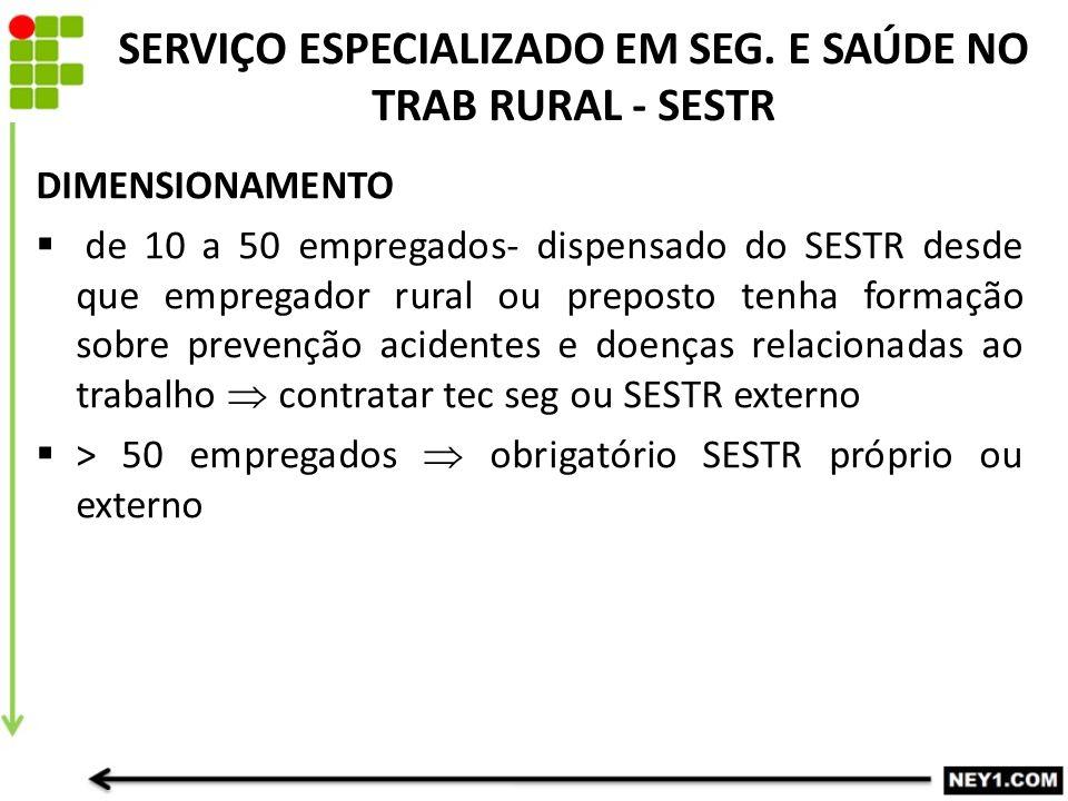 SERVIÇO ESPECIALIZADO EM SEG. E SAÚDE NO TRAB RURAL - SESTR
