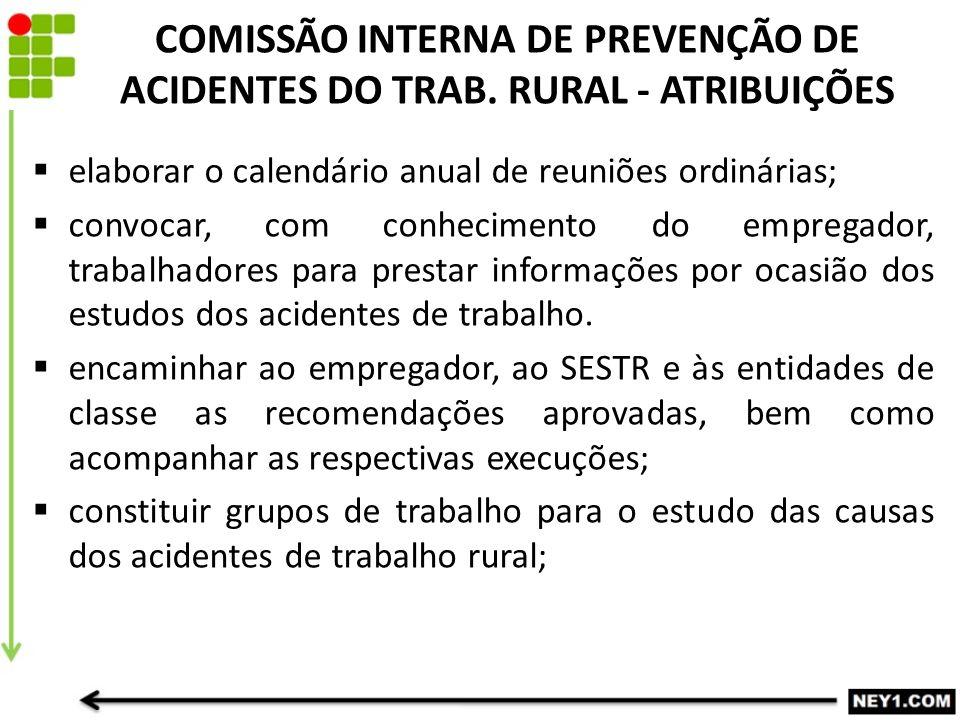 COMISSÃO INTERNA DE PREVENÇÃO DE ACIDENTES DO TRAB. RURAL - ATRIBUIÇÕES