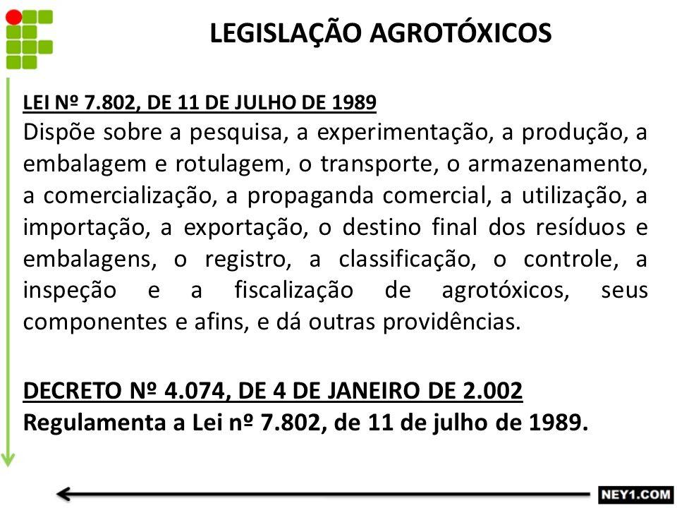 LEGISLAÇÃO AGROTÓXICOS