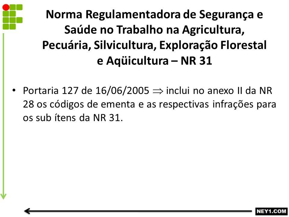 Norma Regulamentadora de Segurança e Saúde no Trabalho na Agricultura, Pecuária, Silvicultura, Exploração Florestal e Aqüicultura – NR 31