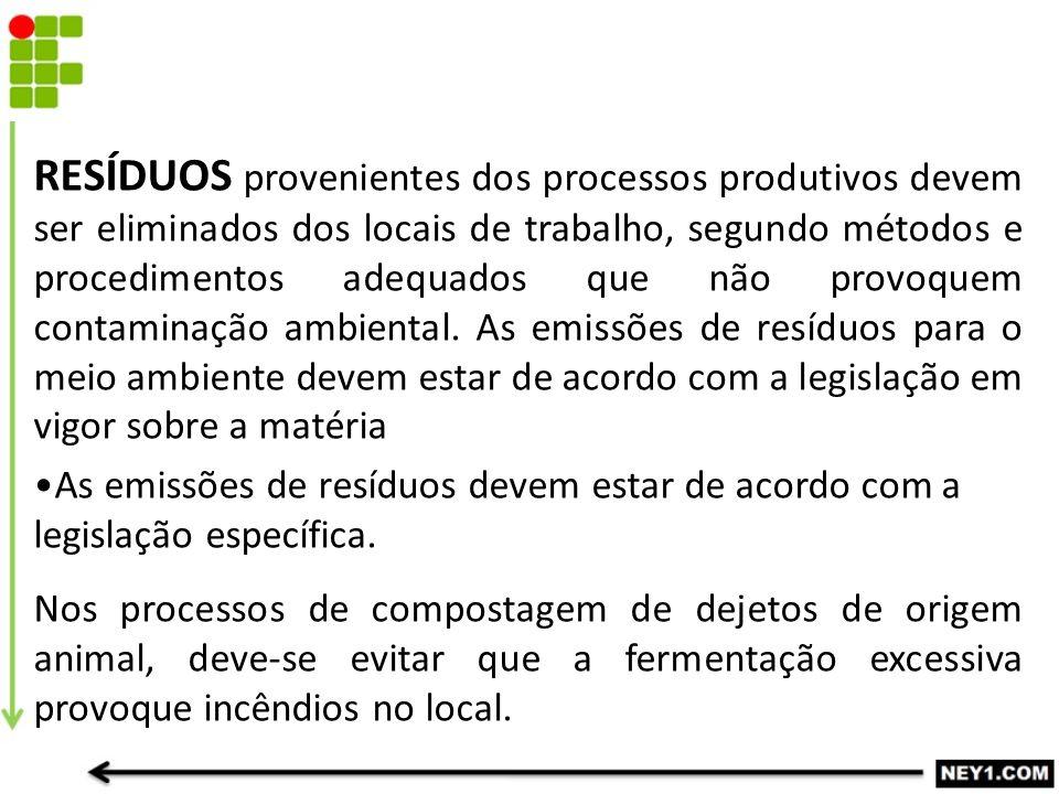RESÍDUOS provenientes dos processos produtivos devem ser eliminados dos locais de trabalho, segundo métodos e procedimentos adequados que não provoquem contaminação ambiental. As emissões de resíduos para o meio ambiente devem estar de acordo com a legislação em vigor sobre a matéria
