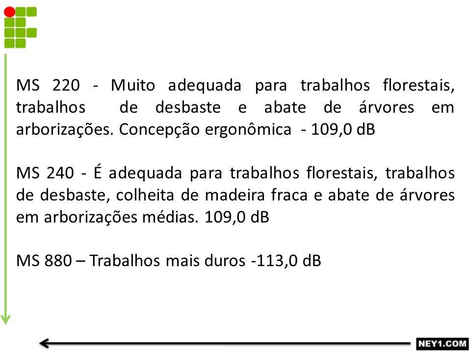 MS 220 - Muito adequada para trabalhos florestais, trabalhos de desbaste e abate de árvores em arborizações. Concepção ergonômica - 109,0 dB