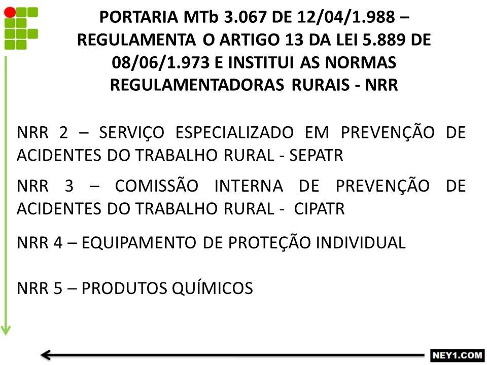 PORTARIA MTb 3. 067 DE 12/04/1. 988 – REGULAMENTA O ARTIGO 13 DA LEI 5