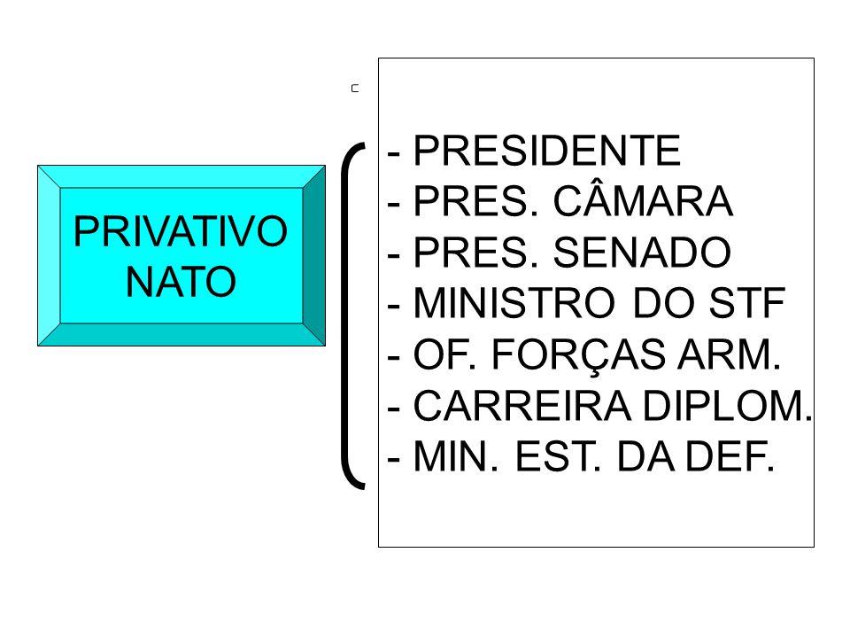 - PRESIDENTE - PRES. CÂMARA. - PRES. SENADO. - MINISTRO DO STF. - OF. FORÇAS ARM. - CARREIRA DIPLOM.