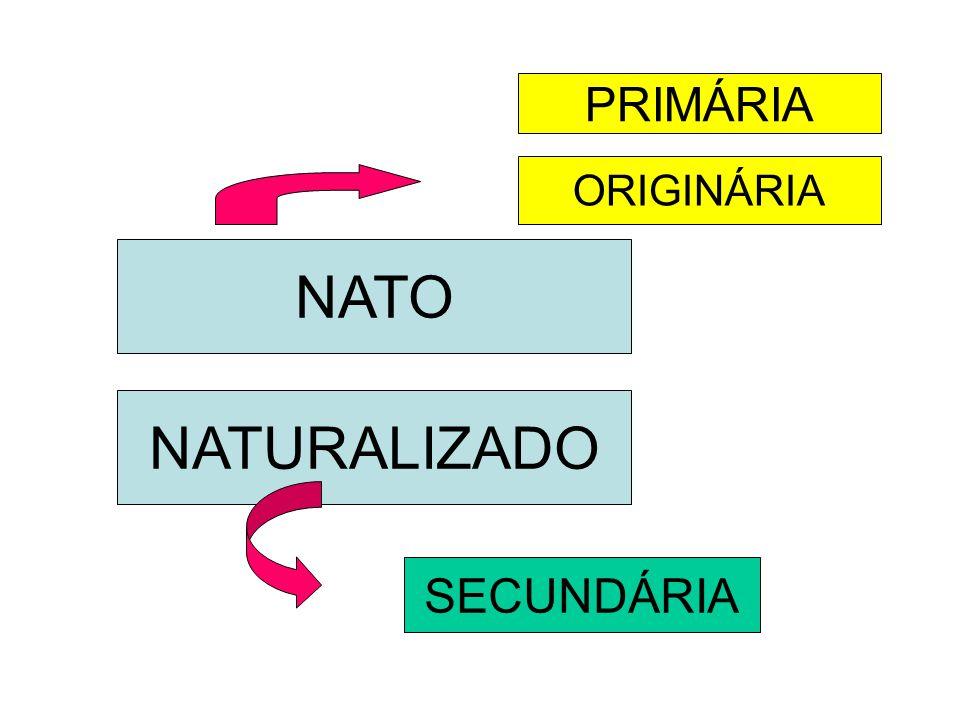 PRIMÁRIA ORIGINÁRIA NATO NATURALIZADO SECUNDÁRIA