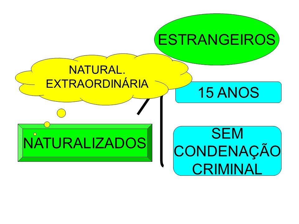 ESTRANGEIROS 15 ANOS SEM NATURALIZADOS CONDENAÇÃO CRIMINAL NATURAL.