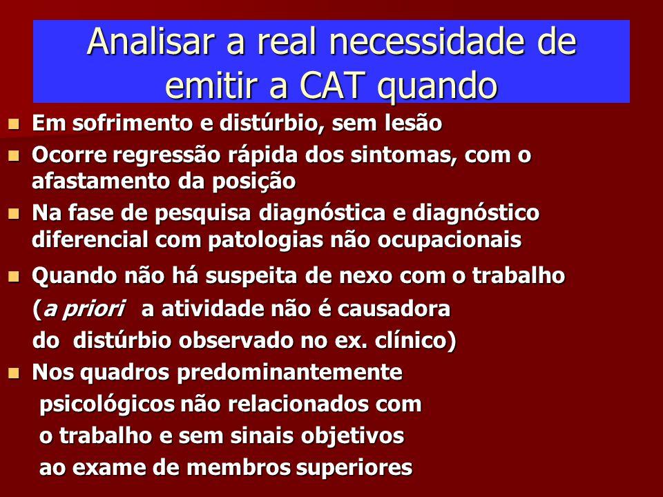 Analisar a real necessidade de emitir a CAT quando