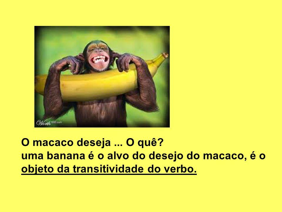 O macaco deseja ... O quê. uma banana é o alvo do desejo do macaco, é o.