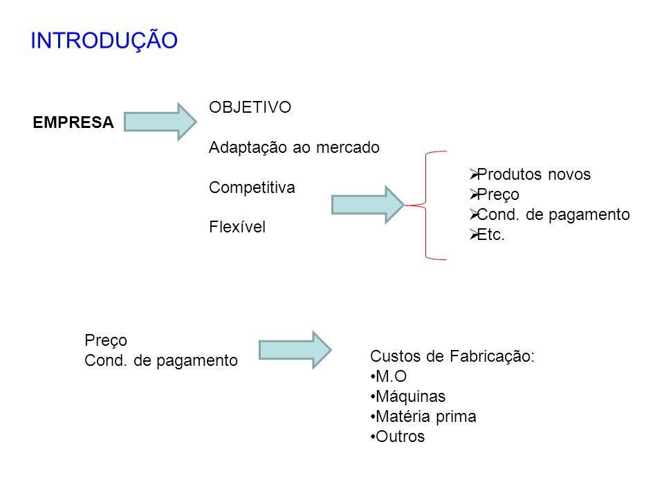 INTRODUÇÃO OBJETIVO EMPRESA Adaptação ao mercado Competitiva Flexível
