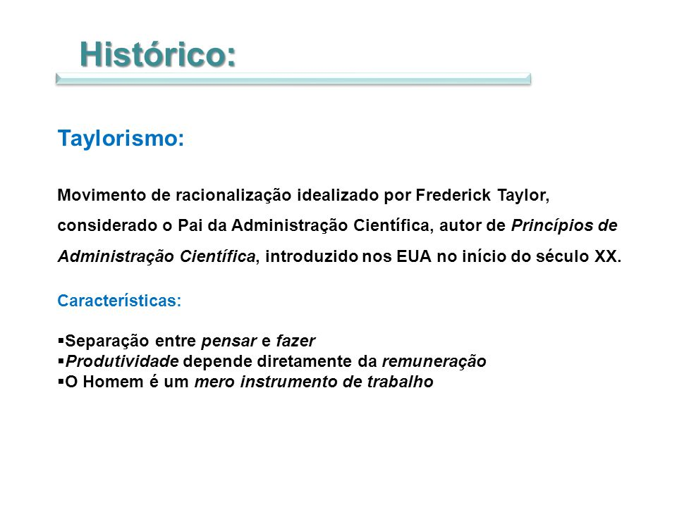 Histórico: Taylorismo: