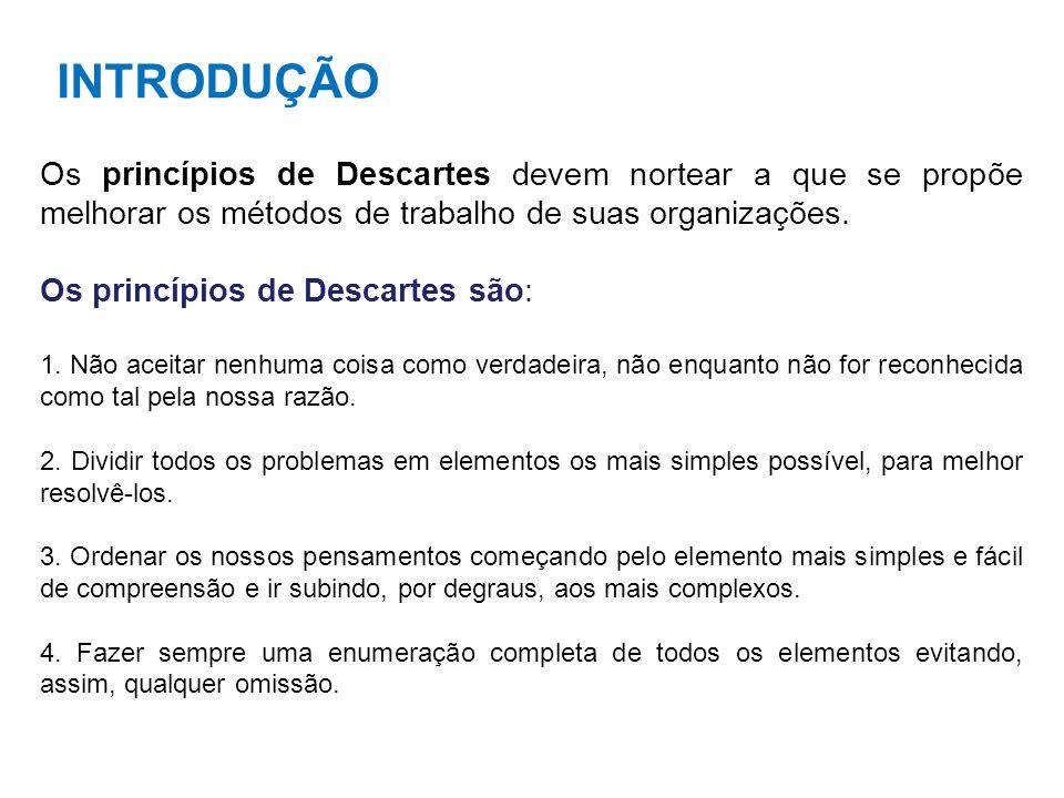 INTRODUÇÃO Os princípios de Descartes devem nortear a que se propõe melhorar os métodos de trabalho de suas organizações.