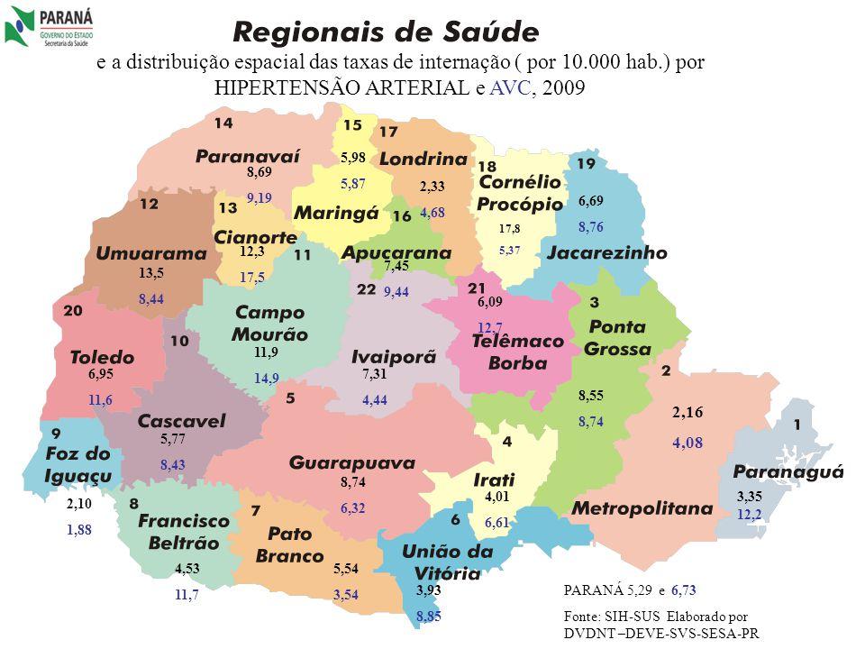 e a distribuição espacial das taxas de internação ( por 10. 000 hab