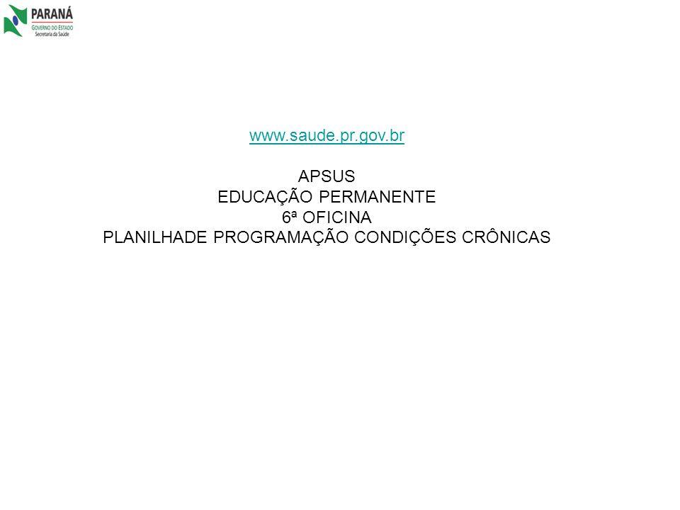PLANILHADE PROGRAMAÇÃO CONDIÇÕES CRÔNICAS