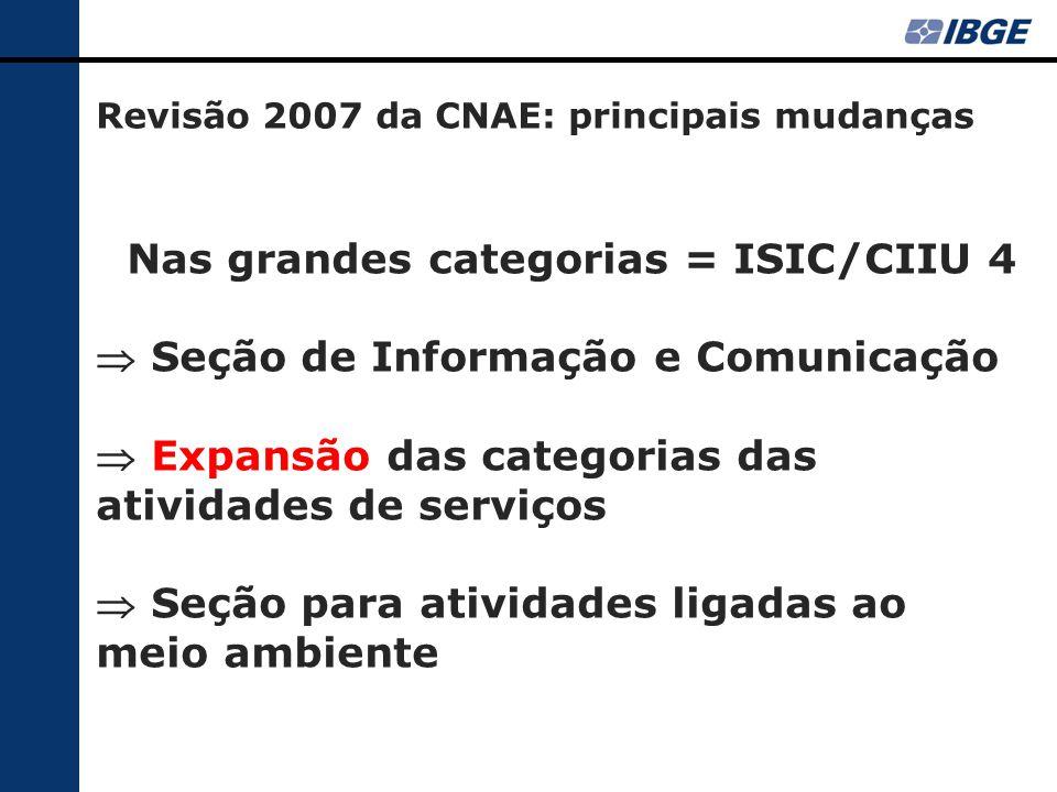 Nas grandes categorias = ISIC/CIIU 4