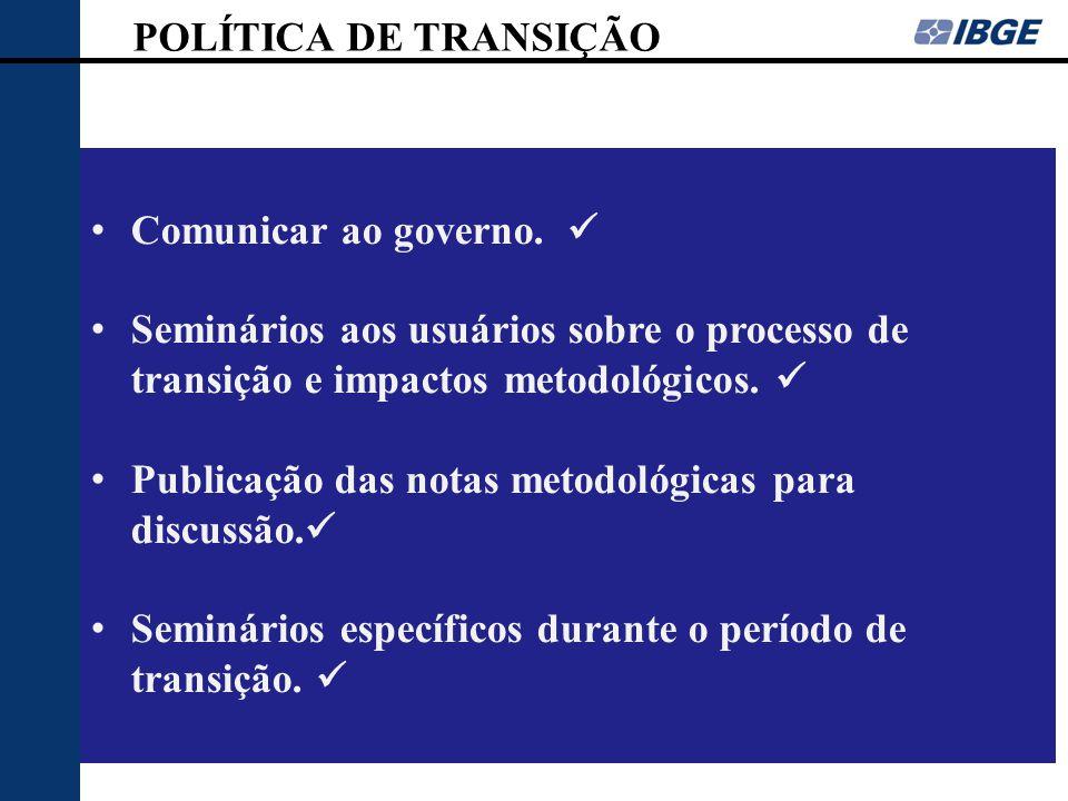 POLÍTICA DE TRANSIÇÃO Comunicar ao governo.  Seminários aos usuários sobre o processo de transição e impactos metodológicos. 