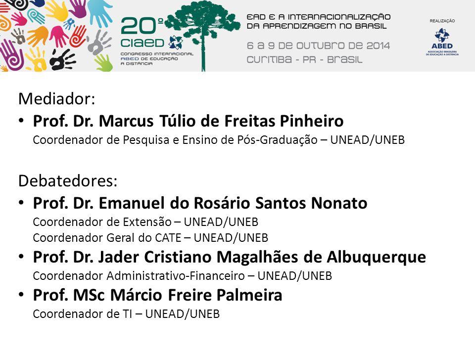 Mediador: Prof. Dr. Marcus Túlio de Freitas Pinheiro Coordenador de Pesquisa e Ensino de Pós-Graduação – UNEAD/UNEB.