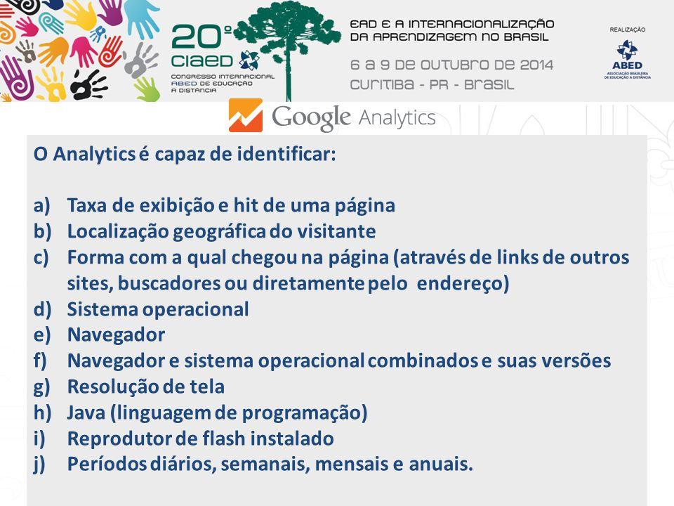 O Analytics é capaz de identificar: