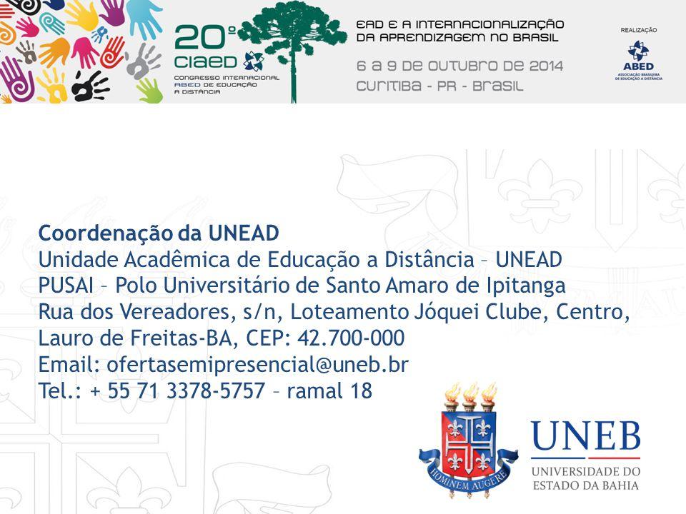 Coordenação da UNEAD Unidade Acadêmica de Educação a Distância – UNEAD. PUSAI – Polo Universitário de Santo Amaro de Ipitanga.
