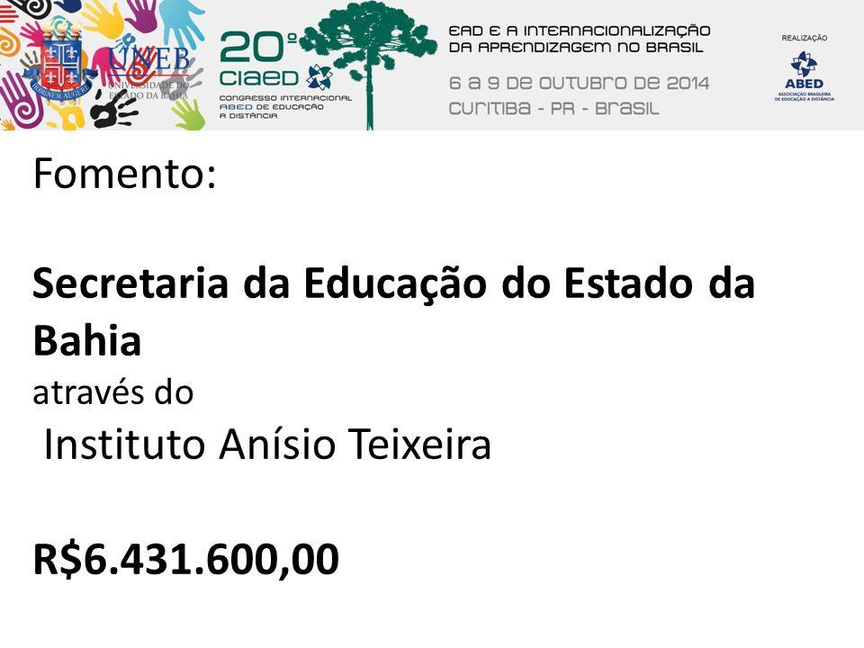 Fomento: Secretaria da Educação do Estado da Bahia através do Instituto Anísio Teixeira.