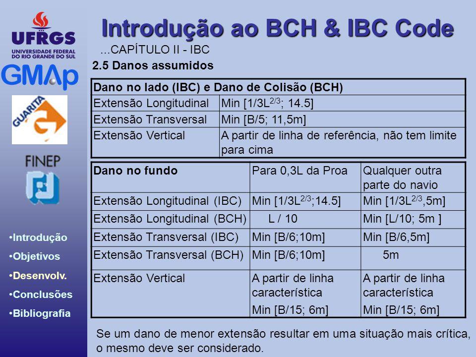 ...CAPÍTULO II - IBC 2.5 Danos assumidos. Dano no lado (IBC) e Dano de Colisão (BCH) Extensão Longitudinal.