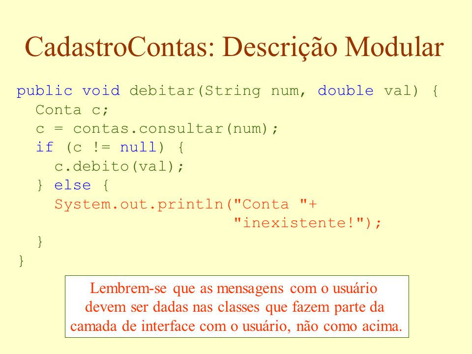 CadastroContas: Descrição Modular
