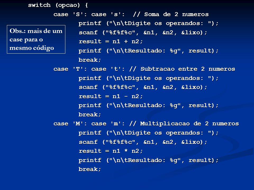 Obs.: mais de um case para o mesmo código