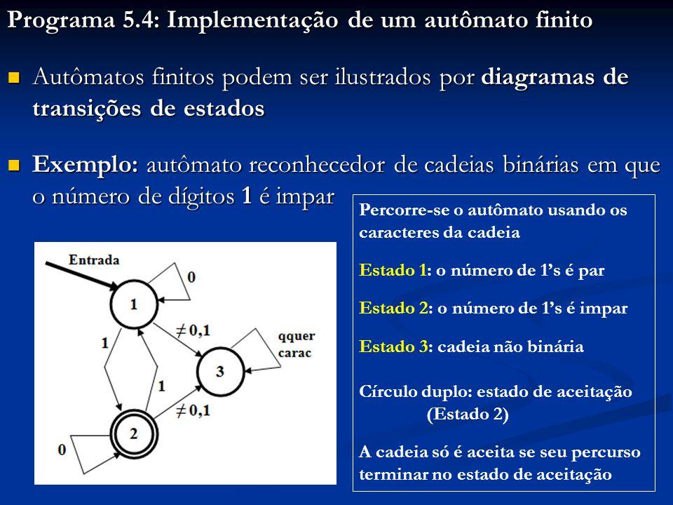 Programa 5.4: Implementação de um autômato finito