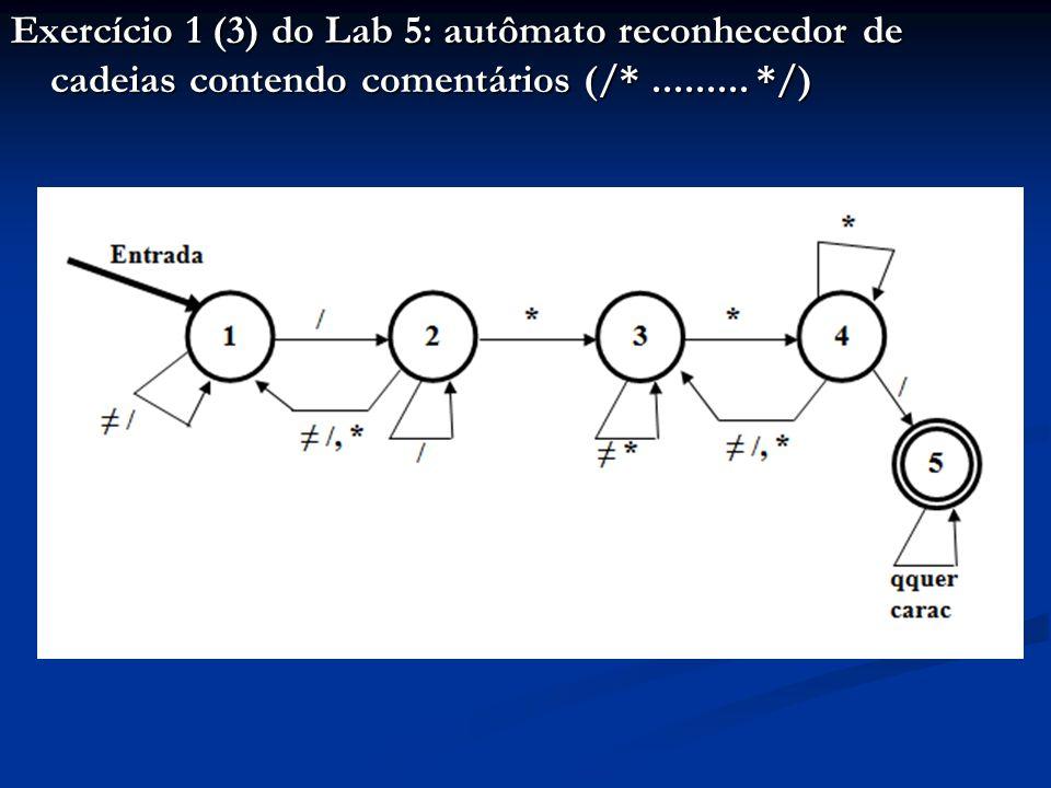 Exercício 1 (3) do Lab 5: autômato reconhecedor de cadeias contendo comentários (/* ......... */)
