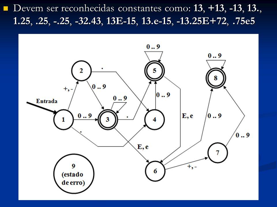 Devem ser reconhecidas constantes como: 13, +13, -13, 13. , 1. 25,