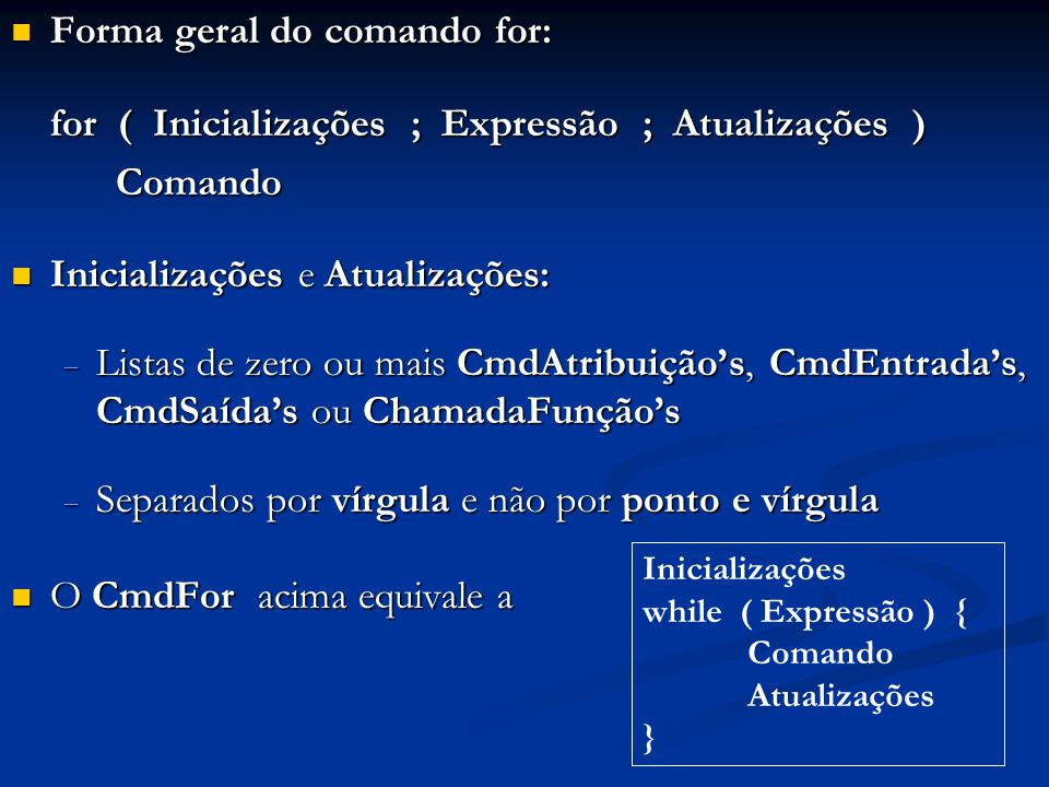 Forma geral do comando for: