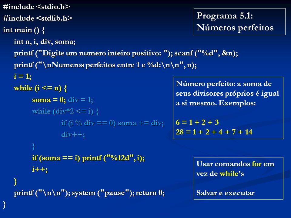 Programa 5.1: Números perfeitos