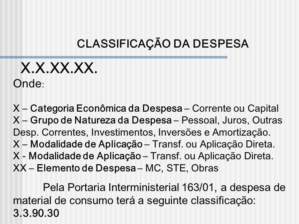 X.X.XX.XX. CLASSIFICAÇÃO DA DESPESA Onde:
