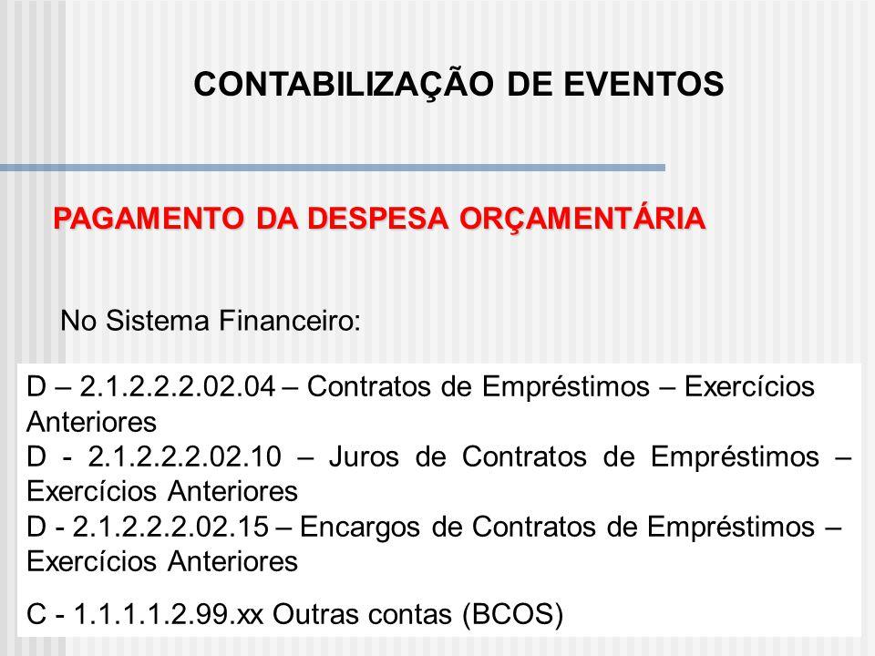 CONTABILIZAÇÃO DE EVENTOS