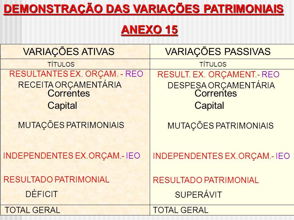 DEMONSTRAÇÃO DAS VARIAÇÕES PATRIMONIAIS ANEXO 15