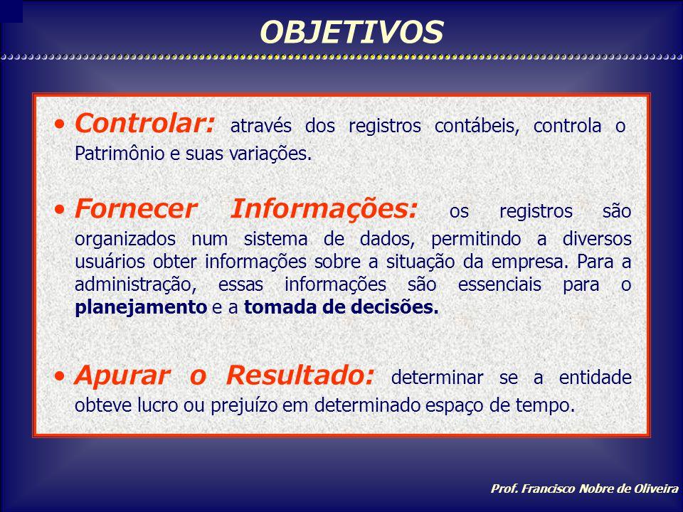 OBJETIVOS Controlar: através dos registros contábeis, controla o Patrimônio e suas variações.