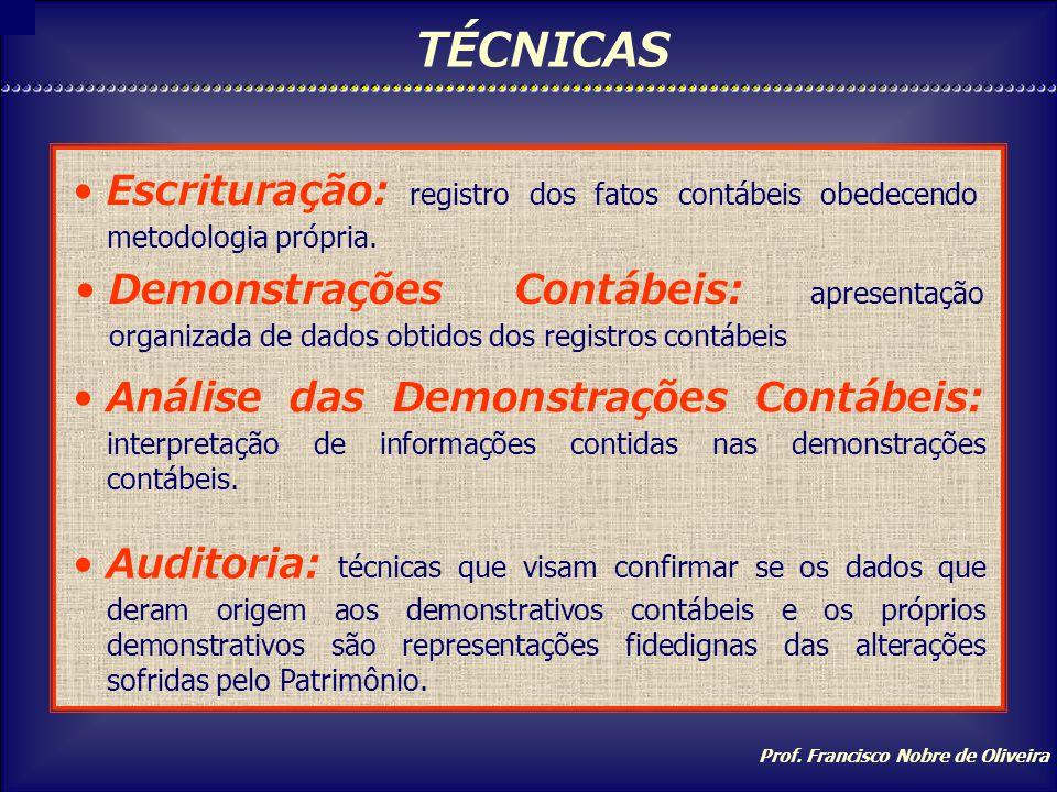 TÉCNICAS Escrituração: registro dos fatos contábeis obedecendo metodologia própria.
