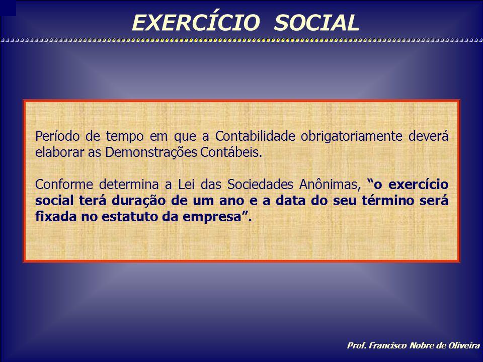 EXERCÍCIO SOCIAL Período de tempo em que a Contabilidade obrigatoriamente deverá elaborar as Demonstrações Contábeis.