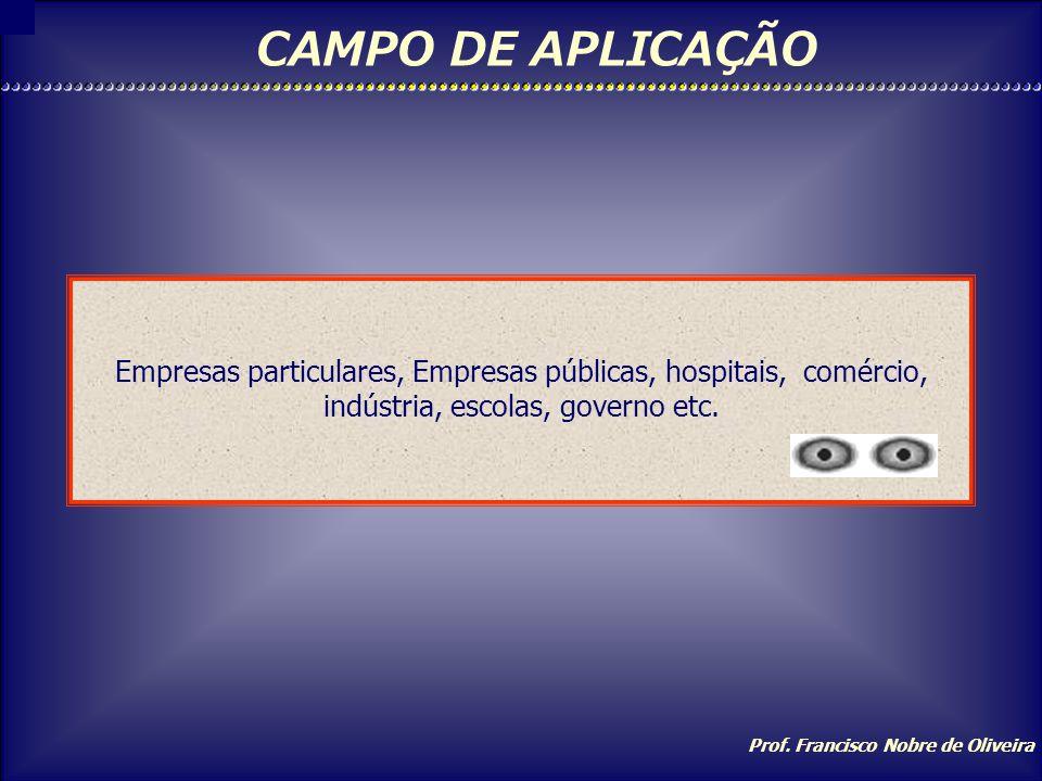CAMPO DE APLICAÇÃO Empresas particulares, Empresas públicas, hospitais, comércio, indústria, escolas, governo etc.