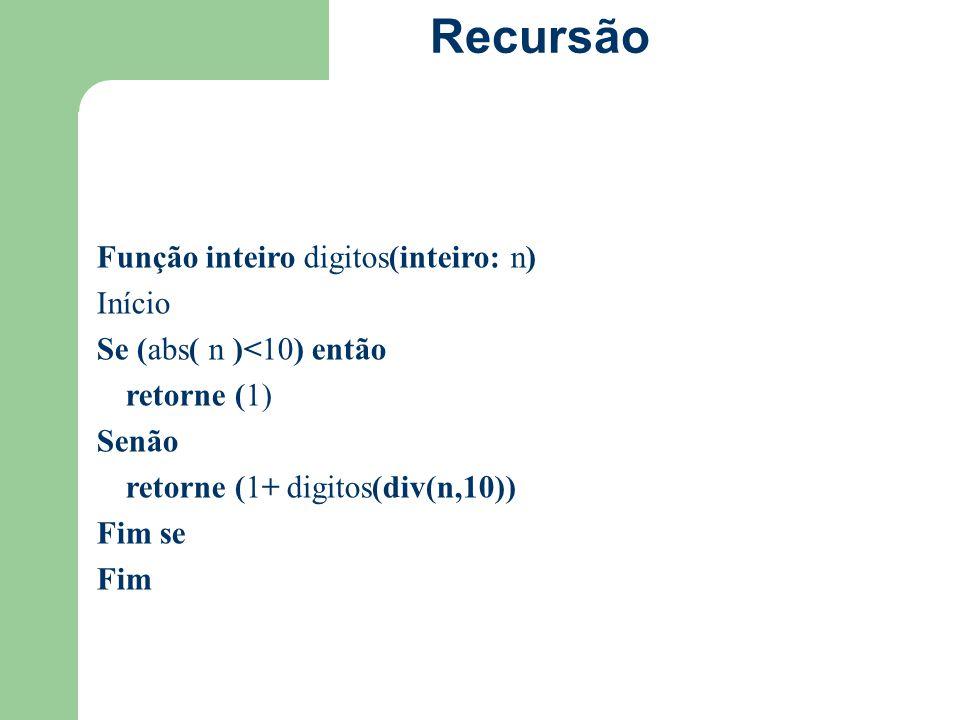 Recursão Função inteiro digitos(inteiro: n) Início