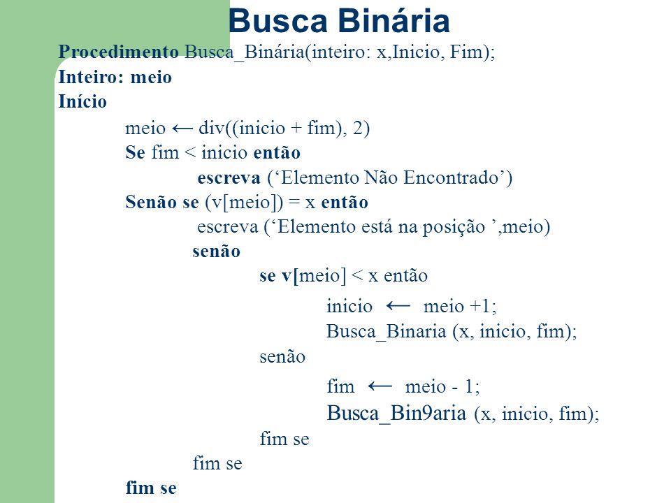 Busca Binária Procedimento Busca_Binária(inteiro: x,Inicio, Fim);