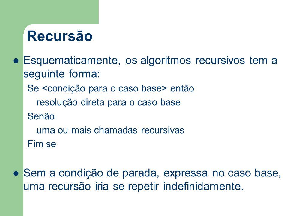 Recursão Esquematicamente, os algoritmos recursivos tem a seguinte forma: Se <condição para o caso base> então.