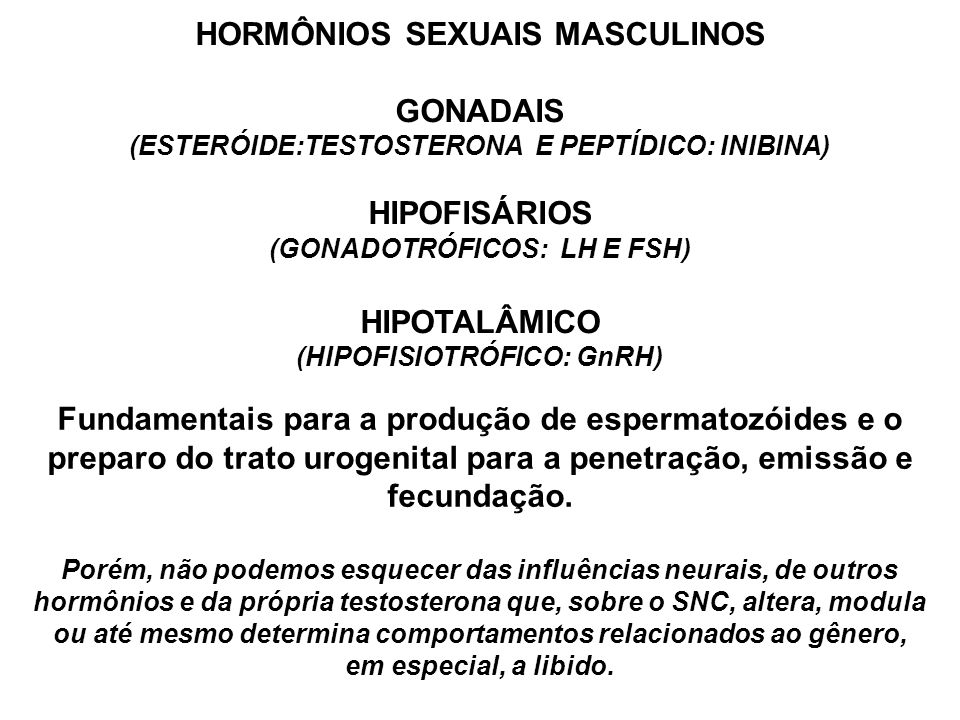 HORMÔNIOS SEXUAIS MASCULINOS GONADAIS