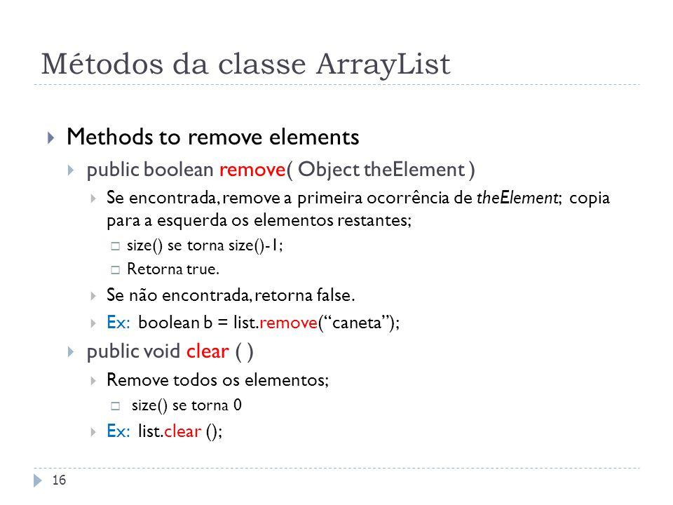 Métodos da classe ArrayList